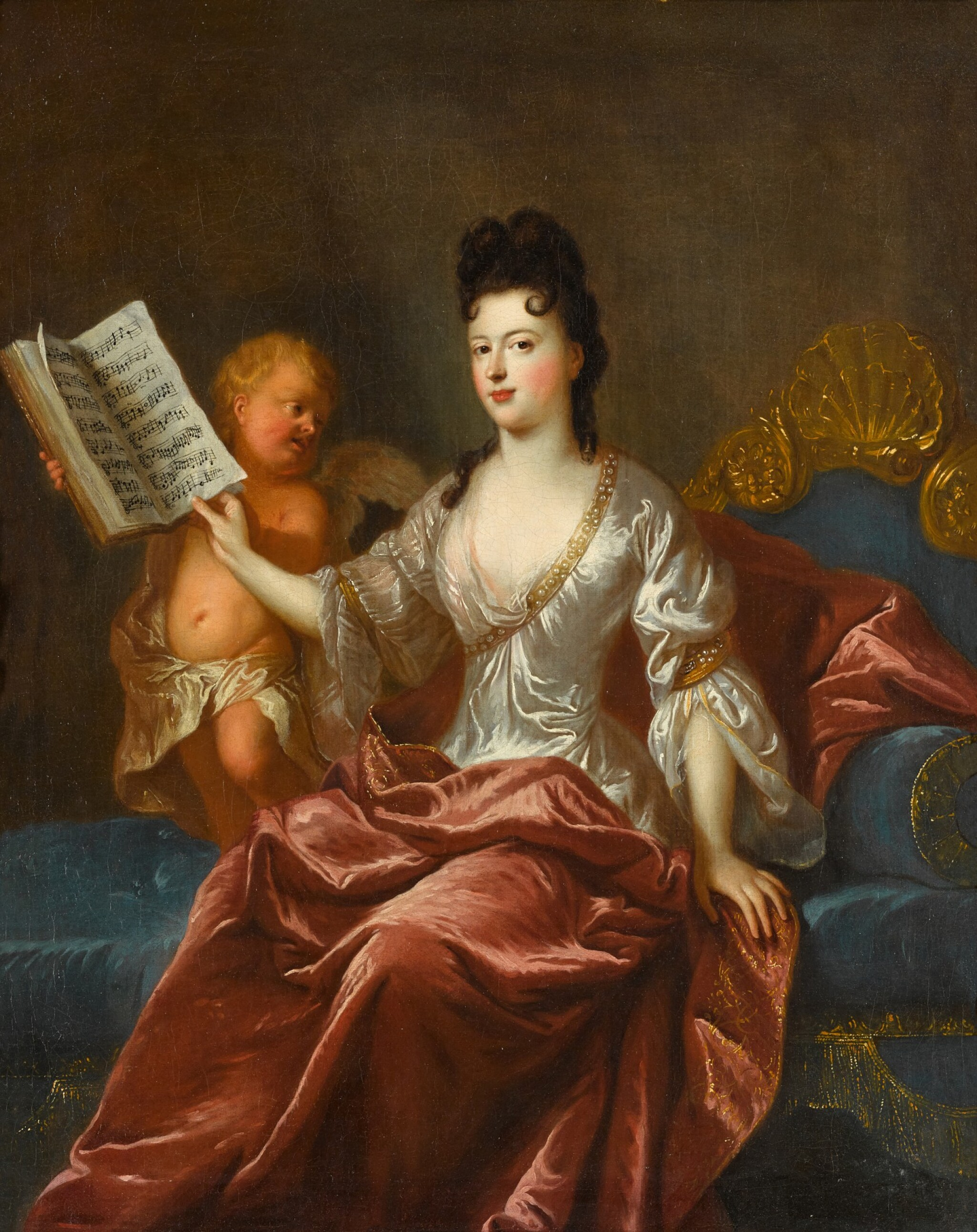 View full screen - View 1 of Lot 3. FRANÇOIS DE TROY     PORTRAIT OF CATHERINE DE LA BOISSIÈRE, NÉE LOISON, FULL-LENGTH, SEATED ON A SOFA AND LEAFING THROUGH MUSICAL SCORES HELD BY A PUTTO.