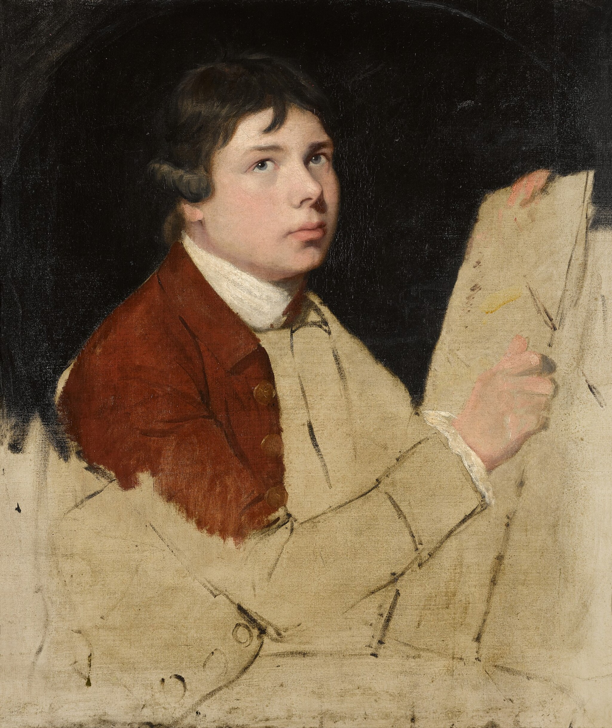 View full screen - View 1 of Lot 36. JOHN HAMILTON MORTIMER, A.R.A.     SELF-PORTRAIT OF THE ARTIST.