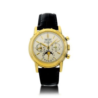 View 2. Thumbnail of Lot 31. REFERENCE 3970/E 'SECOND SERIES' A YELLOW GOLD PERPETUAL CALENDAR CHRONOGRAPH WRISTWATCH WITH MOON PHASES, 24 HOURS AND LEAP YEAR INDICATION, MADE IN 1987.
