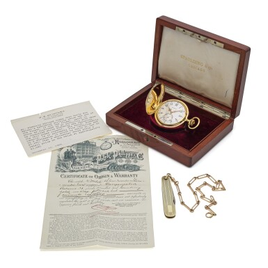View 7. Thumbnail of Lot 98. Retailed By Spaulding & Co.: A yellow gold minute repeating hunting cased watch, Made in 1903.