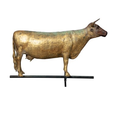 View 1. Thumbnail of Lot 19. FINE AMERICAN GILT MOLDED FULL-BODIED SHEET COPPER AND ZINC COW WEATHERVANE, CIRCA 1870.