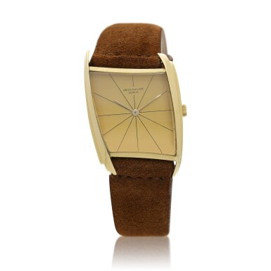 View 1. Thumbnail of Lot 1. Reference 3424   A yellow gold asymmetrical wristwatch, designed by Gilbert Albert, Circa 1962 .