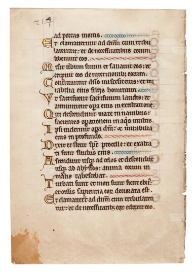 View 1. Thumbnail of Lot 4. Leaf from a Psalter, illuminated manuscript in Latin on vellum, [Southern Netherlands, 13th century].