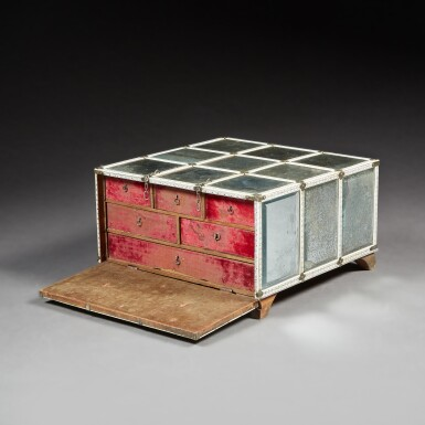 View 1. Thumbnail of Lot 137. A LARGE INDIAN MIRRORED AND ENGRAVED IVORY CASKET.