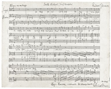"R. Strauss, autograph manuscript of the song ""Sankt Michael"", 1942"