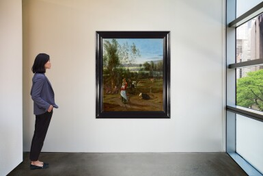 View 2. Thumbnail of Lot 126. JAN SIBERECHTS  |  A MILKMAID AND CHILDREN IN A FIELD, CATTLE GRAZING BEYOND .