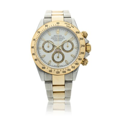 View 1. Thumbnail of Lot 11. Reference 116523 Daytona A stainless steel and yellow gold automatic chronograph wristwatch with bracelet, Circa 2002 .
