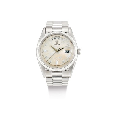"""View 1. Thumbnail of Lot 2133. ROLEX   DAY-DATE, REFERENCE 6611B, A WHITE GOLD AND DIAMOND-SET WRISTWATCH WITH DAY, DATE AND BRACELET, CIRCA 1958   勞力士   """"Day-Date 型號6611B 白金鑲鑽石鏈帶腕錶,備日期及星期顯示,錶殼編號401552,約1958年製""""."""
