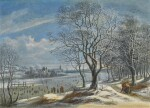 DANIËL VAN HEIL | Winter landscape and skaters with figures on a path in a wood, a town (probably Antwerp) beyond