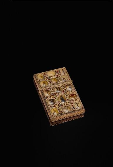 View 1. Thumbnail of Lot 19. A hardstone 'surprise' aide-mémoire with four-colour gold mounts, Johann Christian Neuber, Dresden, circa 1765.