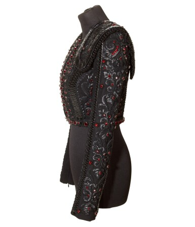 View 5. Thumbnail of Lot 10. A Matador Inspired Handmade Short Jacket in Leather Details and Swarovski Crystals made for Madonna, circa 2015.
