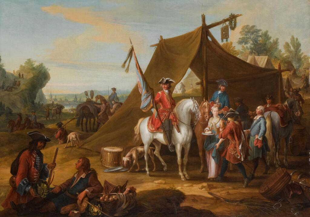 JAN PEETER VERDUSSEN | A military encampment, depicting the Household Cavalry of the Duke of Savoy (1744-1745) with a standard bearer and horses by a tent