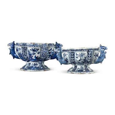 TWO DUTCH DELFT BLUE AND WHITE FLOWER VASES, CIRCA 1695