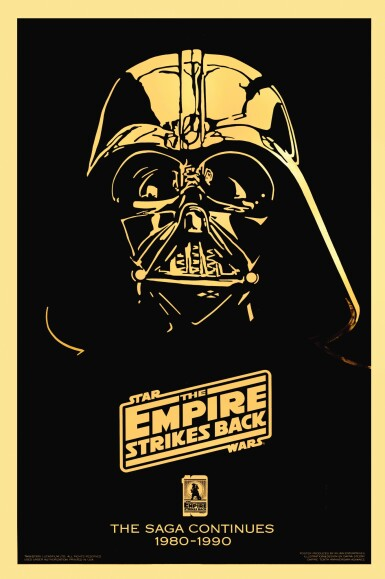 THE EMPIRE STRIKES BACK, GOLD MYLAR 10TH ANNIVERSARY POSTER, DAYNA STEDRY, US, 1990