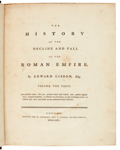 View 2. Thumbnail of Lot 78. GIBBON, E. | History of the Decline and Fall of the Roman Empire, 1776-1788, 6 volumes.
