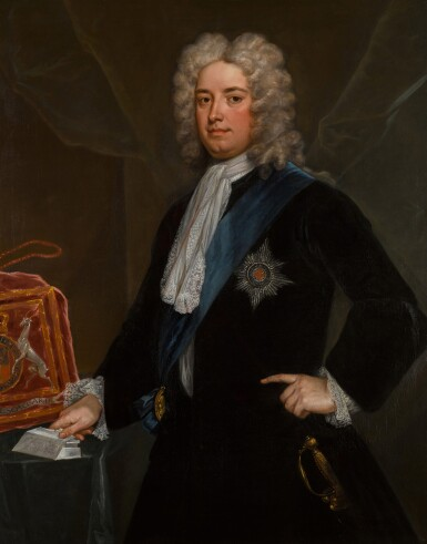 View 1. Thumbnail of Lot 190. Portrait of Sir Robert Walpole, 1st Earl of Orford (1676-1745) as Chancellor of the Exchequer, standing three-quarter-length, in a black velvet coat, wearing the Star and Riband of the Order of the Garter.