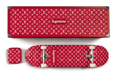 View 3. Thumbnail of Lot 57. LOUIS VUITTON X SUPREME   BOITE SKATEBOARD TRUNK, WITH DECK AND TRUCKS.