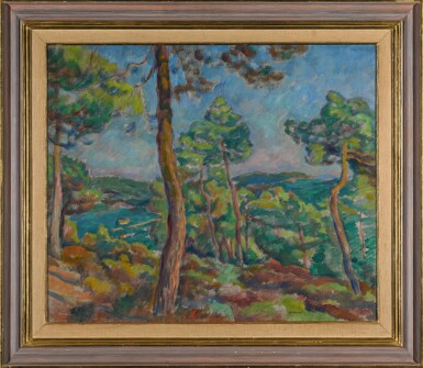 View 2. Thumbnail of Lot 12. JÓZEF PANKIEWICZ | HARBOUR WITH PINE TREES.