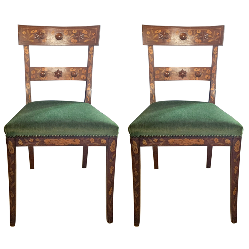 Dutch Marquetry Side Chairs