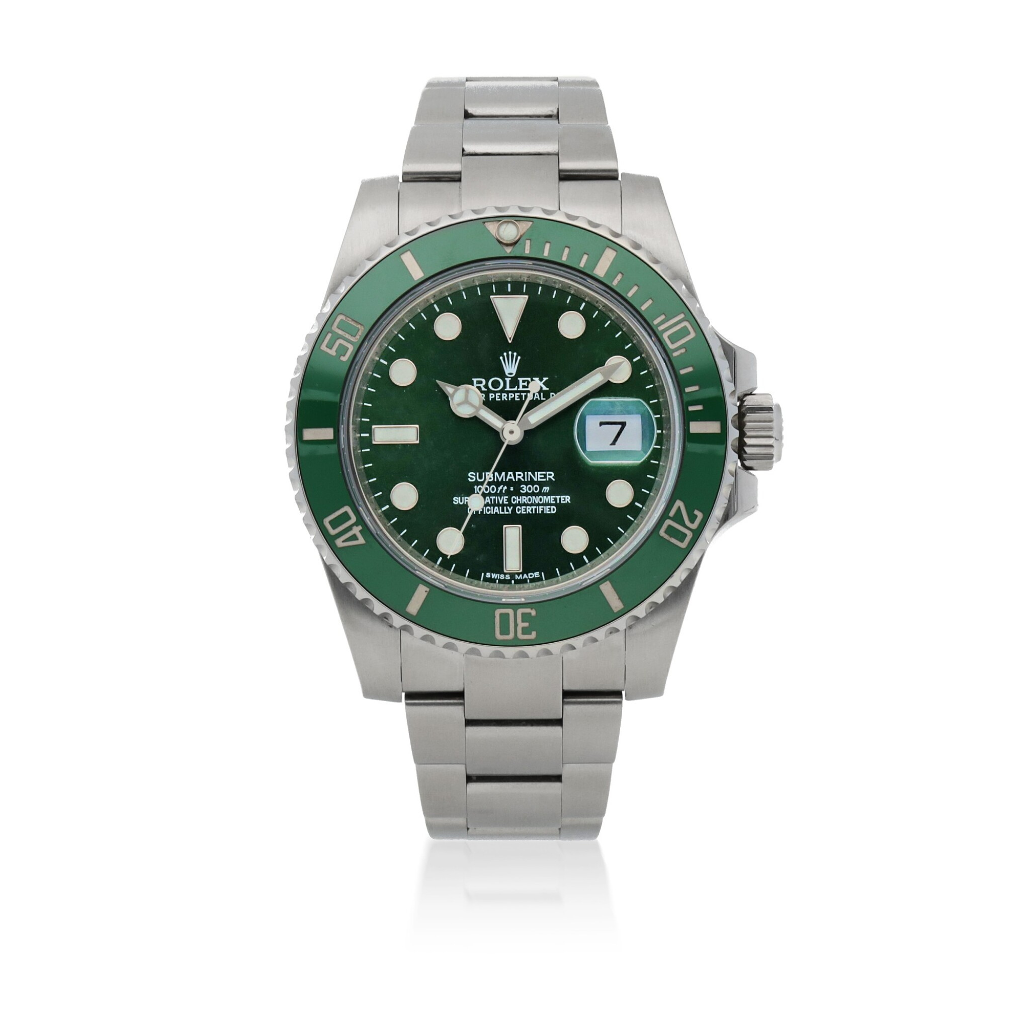 View full screen - View 1 of Lot 341. 'HULK' SUBMARINER, REF 116610LV STAINLESS STEEL WRISTWATCH WITH DATE AND BRACELET CIRCA 2017.