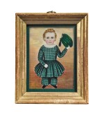 ATTRIBUTED TO MRS. MOSES B. RUSSELL (CLARISSA PETERS)   MINIATURE PORTRAIT OF A BOY IN A GREEN PLAID TUNIC AND TROUSERS WAVING HIS HAT, POSSIBLY WILLIAM CROWNINSHIELD ENDICOTT OF SALEM, MASSACHUSETTS