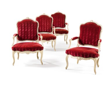 A SUITE OF FOUR LOUIS XV CREAM PAINTED ARMCHAIRS BY PHILIPPE-JOSEPH PLUVINET, CIRCA 1755 [SUITE DE QUATRE FAUTEUILS EN BOIS SCULPTÉ RELAQUÉ CRÈME D'ÉPOQUE LOUIS XV, VERS 1755, PAR PHILIPPE-JOSEPH PLUVINET]