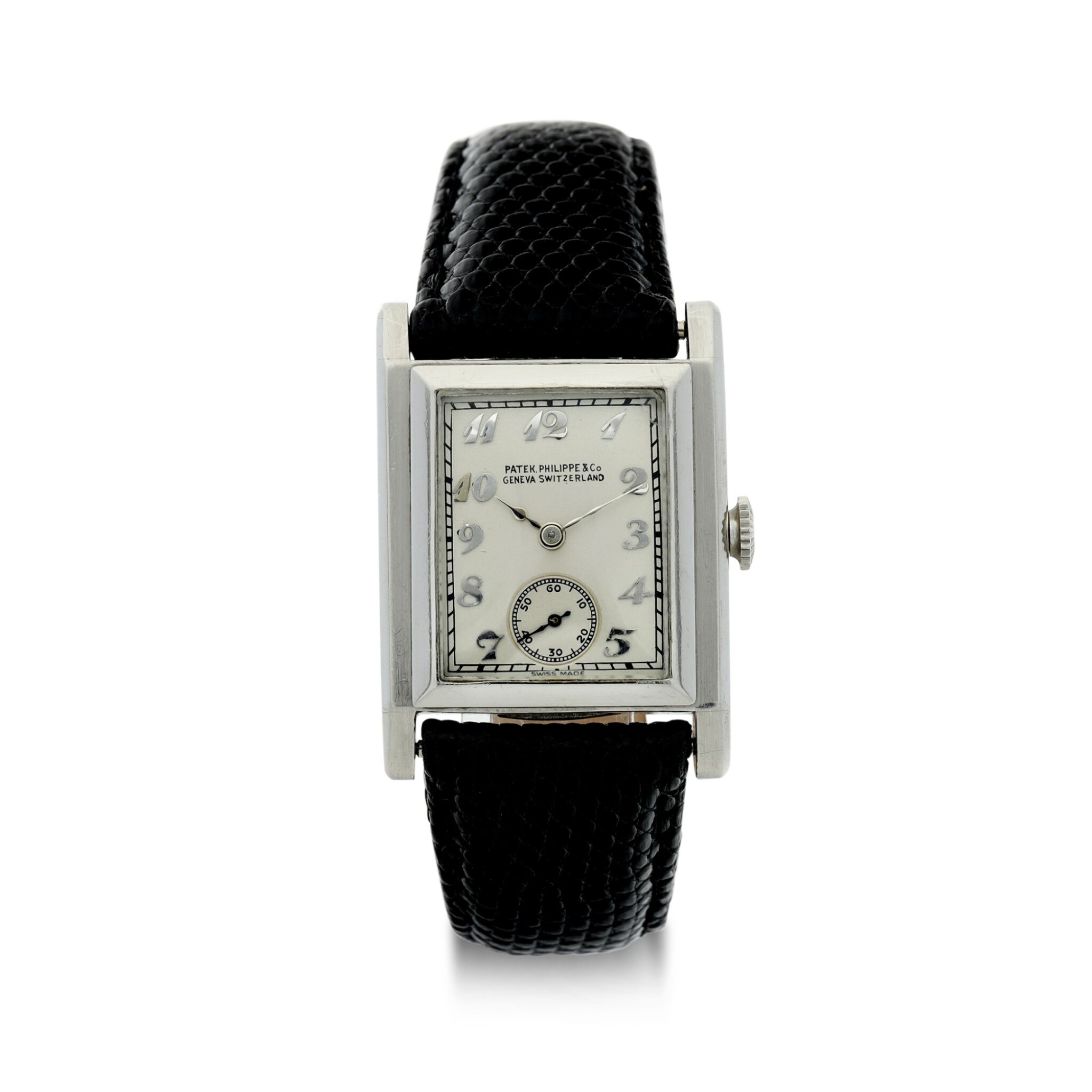 View full screen - View 1 of Lot 40. PATEK PHILIPPE | A PLATINUM SQUARE SHAPED WRISTWATCH, MADE IN 1929 .