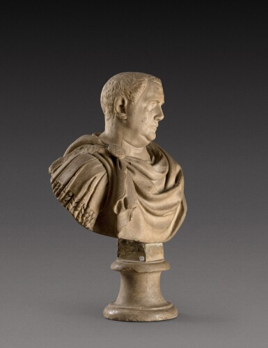 View 3. Thumbnail of Lot 109. A Roman Marble Bust of a Man, circa 2nd Century, with restored head of Vitellius.