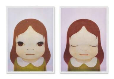 View 1. Thumbnail of Lot 9030.  奈良美智 Yoshitomo Nara | 宇宙女孩:開眼睛/閉眼睛(一組兩件)Comic Girls: Eyes Opened/Eyes Closed (set of two).