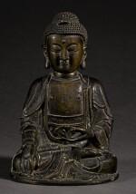 A BRONZE SEATED FIGURE OF SHAKYAMUNI MING DYNASTY, 16TH/17TH CENTURY | 明十六/十七世紀 銅釋迦穆尼坐像