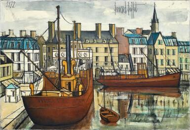 View 1. Thumbnail of Lot 1056. Bernard Buffet 貝爾納・布菲  | Paimpol, remorqueurs dans le bassin  潘波勒,港口拖船.
