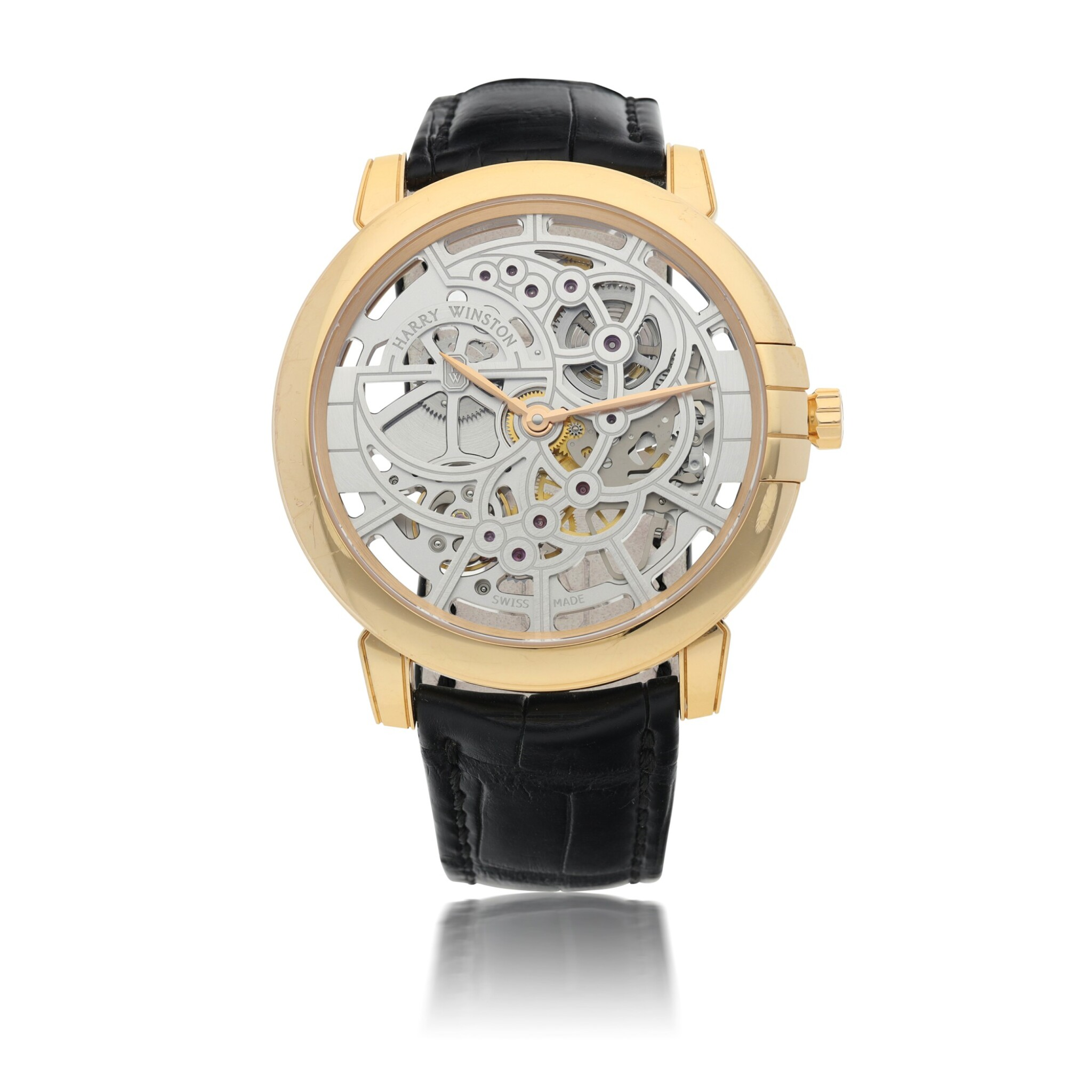View full screen - View 1 of Lot 91. HARRY WINSTON   REFERENCE 450-MAS42R MIDNIGHT SKELETON A PINK GOLD SKELETONIZED AUTOMATIC WRISTWATCH, CIRCA 2015.