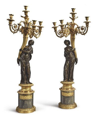 View 1. Thumbnail of Lot 825. A PAIR OF LOUIS XVI GILT AND PATINATED BRONZE FOUR-LIGHT FIGURAL CANDELABRA ATTRIBUTED TO FRANCOIS REMOND, CIRCA 1785.