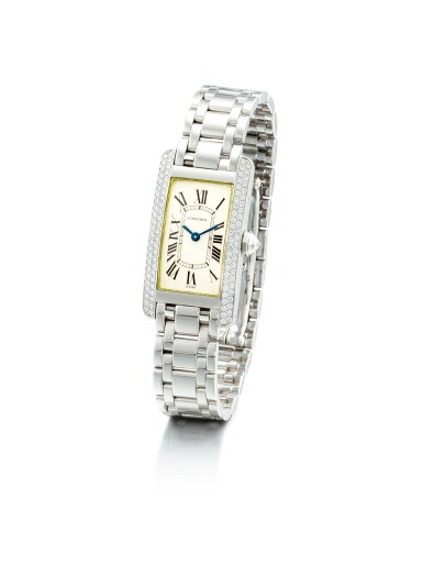 View 2. Thumbnail of Lot 1108. CARTIER   TANK AMÉRICAINE, REFERENCE 1713, A WHITE GOLD AND DIAMOND-SET WRISTWATCH WITH BRACELET, CIRCA 2000.