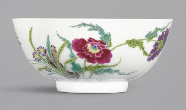 A FAMILLE-ROSE 'BONELESS' 'BUTTERFLY AND FLOWER' BOWL, YONGZHENG MARK AND PERIOD | 清雍正 粉彩蝶戀花紋盌 《大清雍正年製》款