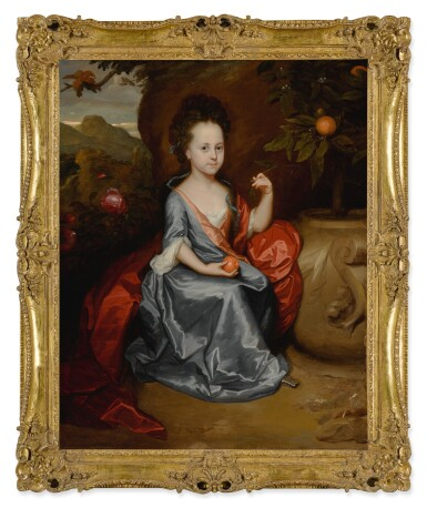 View 2. Thumbnail of Lot 635. Portrait of a young girl, believed to be Anne Conslade, wearing a blue dress with a brown mantle and holding an orange.