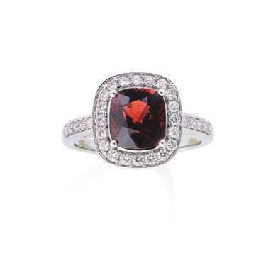 View 1. Thumbnail of Lot 120. Spinel and diamond ring [Bague spinelle et diamants].