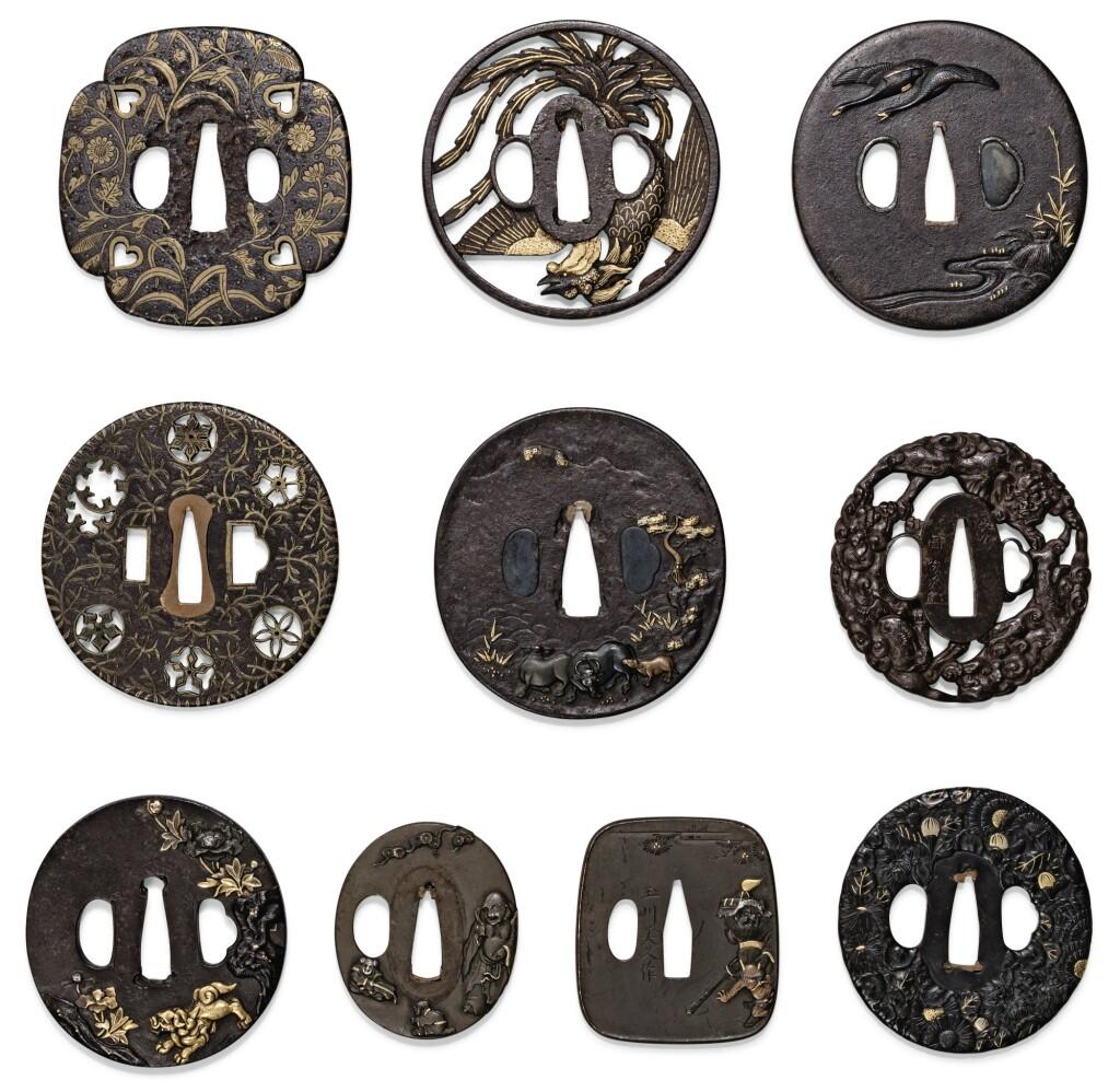 ENSEMBLE DE DIX TSUBA EN FER JAPON, ÉPOQUE EDO/MEIJI | A group of ten iron multi-metal inlaid tsuba, Japan, Edo/Meiji period