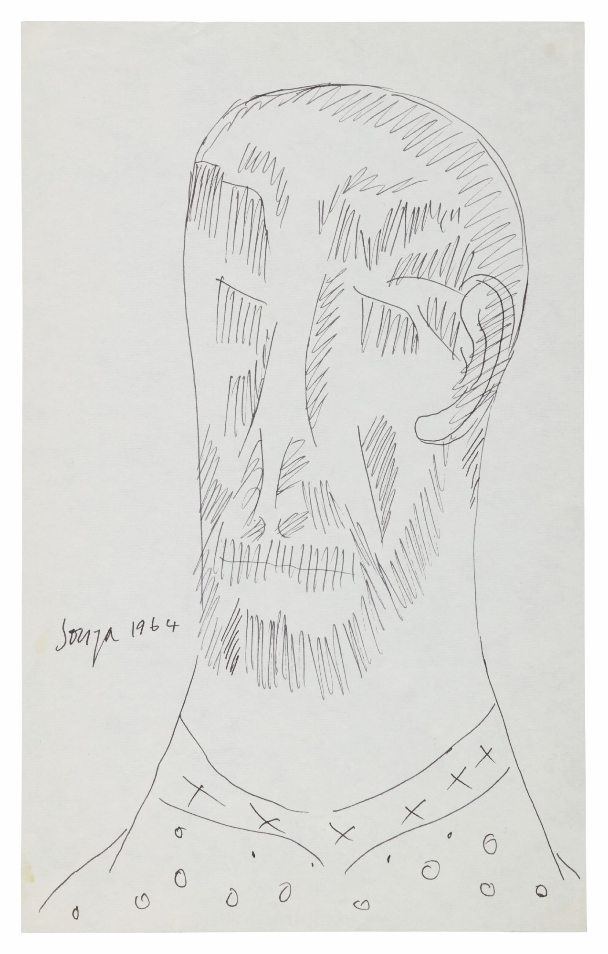 View full screen - View 1 of Lot 1820. FRANCIS NEWTON SOUZA | UNTITLED (BEARDED MAN).