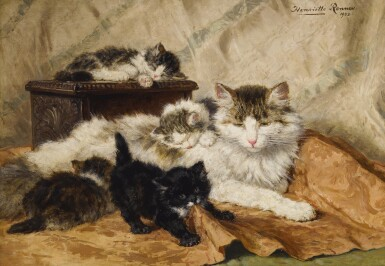 Henriette Ronner-Knip   A MOTHER AND HER KITTENS