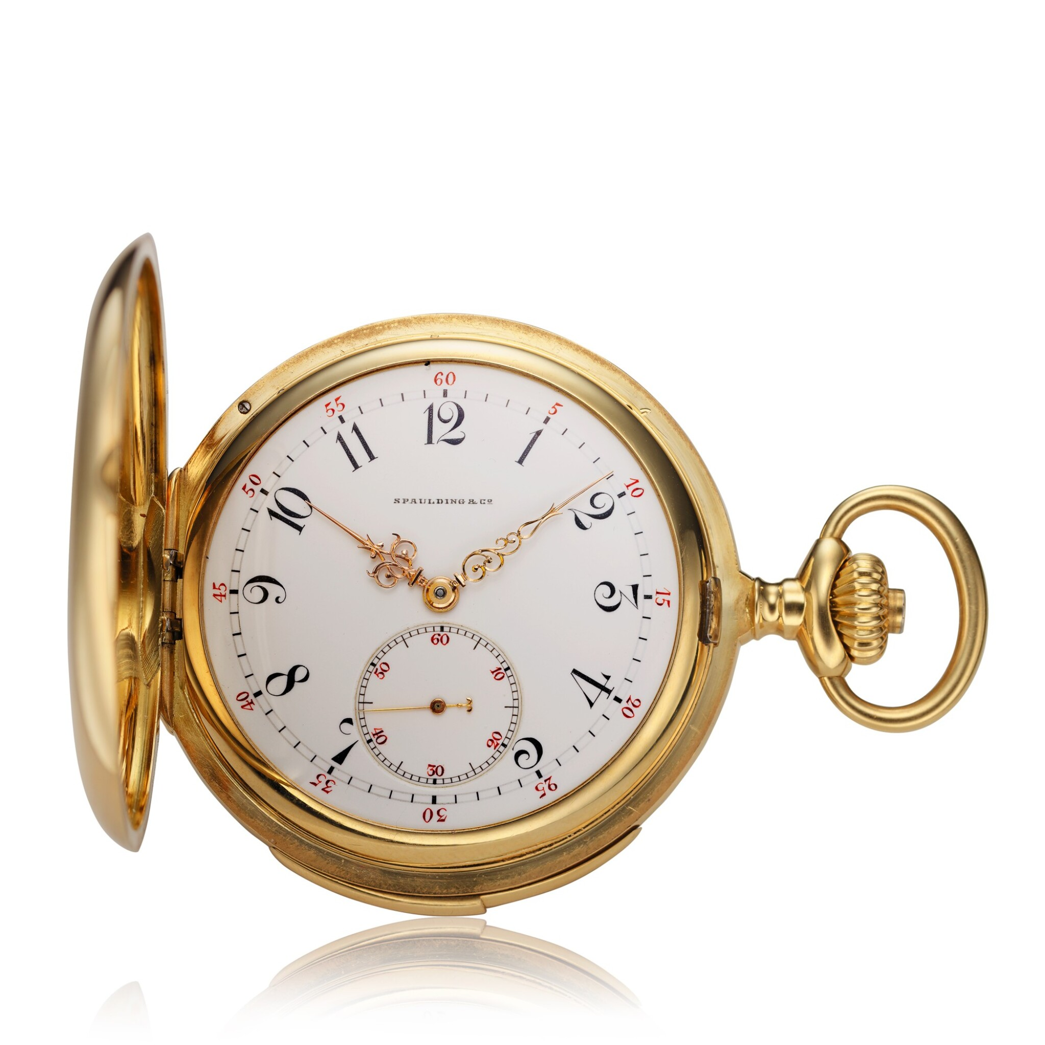 View full screen - View 1 of Lot 98. Retailed By Spaulding & Co.: A yellow gold minute repeating hunting cased watch, Made in 1903.