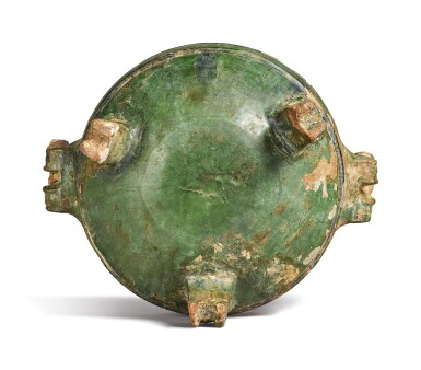 View 5. Thumbnail of Lot 1069. A GREEN-GLAZED POTTERY DING AND COVER, HAN DYNASTY.