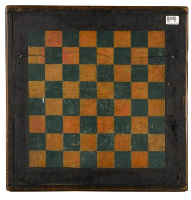 View 2. Thumbnail of Lot 1459. AMERICAN POLYCHROME PAINT-DECORATED WOODEN DOUBLE-SIDED 'HORSE' PARCHEESI AND CHECKER GAMEBOARD, LATE 19TH CENTURY.