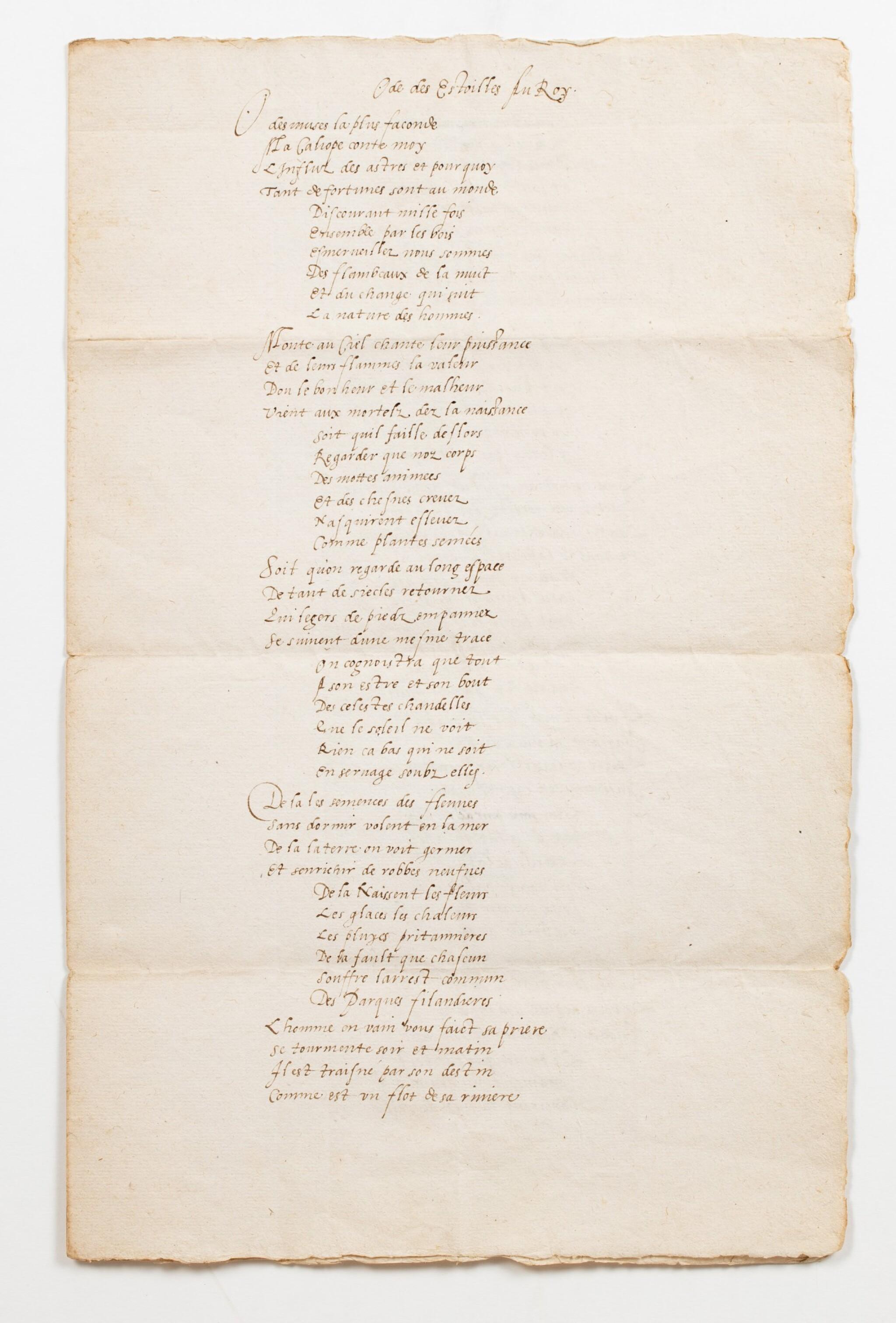 View full screen - View 1 of Lot 17. RONSARD. Ode des Estoilles au Roy. Manuscrit. [1573]; 3 pages sur un bi-feuillet in-folio. Chemise et étui..