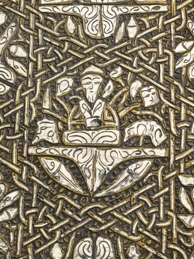 View 6. Thumbnail of Lot 74. A rare and important Khurasan silver-inlaid brass basin, probably Herat, circa 1200.