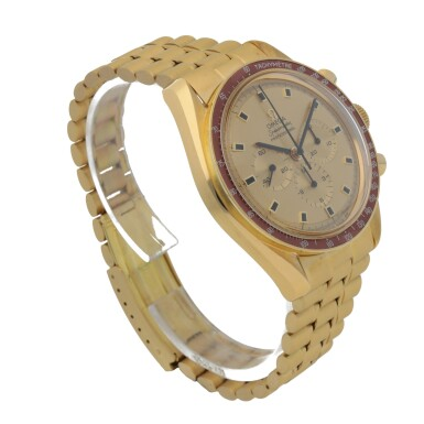 View 3. Thumbnail of Lot 371. SPEEDMASTER APOLLO XI, REF 145.022-69 YELLOW GOLD CHRONOGRAPH WRISTWATCH WITH BRACELET MADE IN 1970.