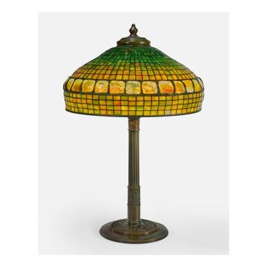 "TIFFANY STUDIOS   ""TURTLE-BACK AND GEOMETRIC"" TABLE LAMP"