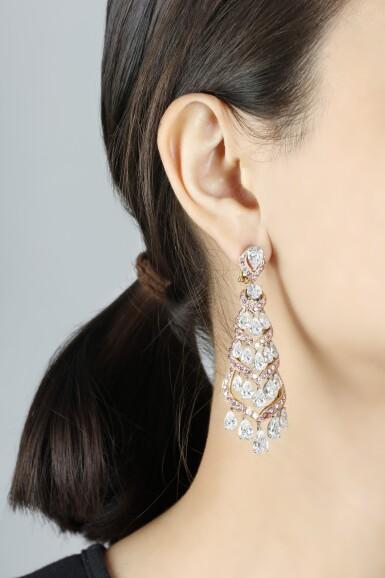 View 4. Thumbnail of Lot 133. GRAFF [ 格拉夫] | PAIR OF DIAMOND PENDENT EARRINGS [鑽石吊耳環一對].