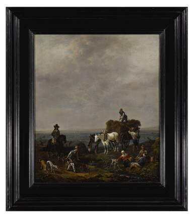 View 2. Thumbnail of Lot 531. Falconers on a path with harvesters loading hay onto a wagon nearby, a valley beyond, at dusk.