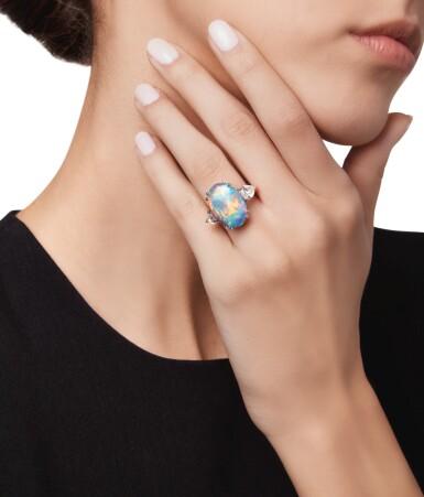 View 2. Thumbnail of Lot 484. BLACK OPAL AND DIAMOND RING | 黑色蛋白石配鑽石戒指.
